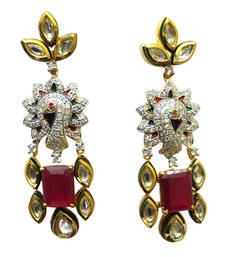 Buy Vatika kundan with multicolor american diamond earring danglers-drop online