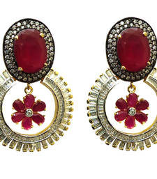 Buy Vatika pink stone and round shaped american diamond earring danglers-drop online