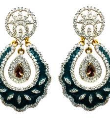 Buy Vatika very dark cyan color americane diamond earring danglers-drop online