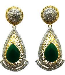 Buy Vatika green american diamond earring danglers-drop online