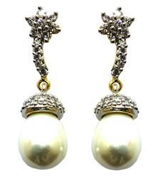 Buy Vatika white pearl drop american diamond earring jhumka online