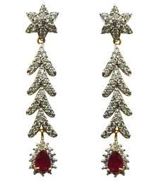 Buy Vatika pink stone american diamond earring danglers-drop online