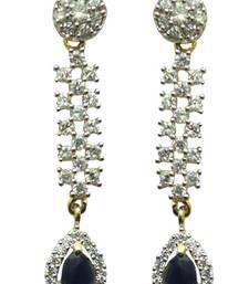 Buy Vatika beautiful blue stone american diamond earring danglers-drop online