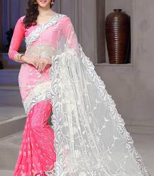 Buy Pink embroidered net saree with blouse wedding-season-sale online