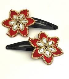 Buy Red flower zari work  snap clips (pair) hair-accessory online