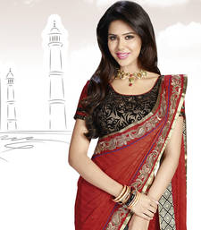 Enthralling Red & Black Jacquard Saree With Embroidery Work shop online