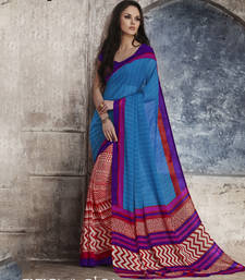 Buy Trendy Blue & Red Georgette Saree georgette-saree online