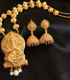 Buy BEAUTIFUL GOLD TONE LAKSHMI NECKLACE SET necklace-set online