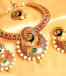 Buy GORGEOUS PEACOCK BALI STYLE BRIDAL NECKLACE SET necklace-set online