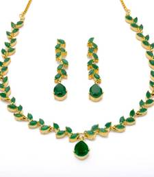 Buy FLOWER LEAF NECKLACE SET WITH EARRINGS (EMRALD) - necklace-set online