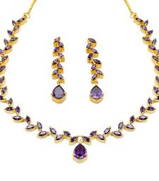 Buy FLOWER LEAF NECKLACE SET WITH EARRINGS (VIOLET) - necklace-set online