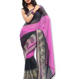 Buy Pink Colored Chiffon Printed Saree chiffon-saree online