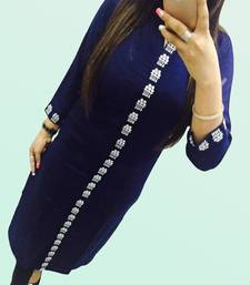 Buy Blue embroidered georgette georgette-kurtis georgette-kurti online