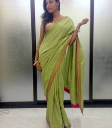 Buy olive green  crepe saree crepe-saree online