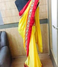 Buy Yellow crepe saree crepe-saree online