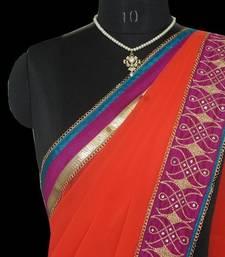 Buy Orange kollam saree with blouse georgette-saree online
