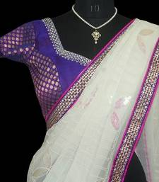 Buy Milky white georggette saree with blouse georgette-saree online