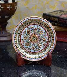 Buy Bold Floral Marble Decorative Plate with Wooden Stand decorative-plate online