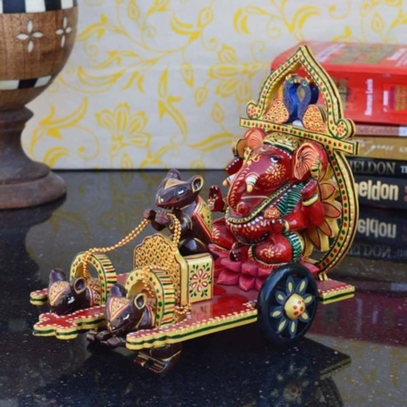 buy wooden lord ganesha on chariot online. Black Bedroom Furniture Sets. Home Design Ideas