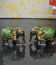 Buy Set of 2 Wooden Black Painted Elephant Statue home-decor online