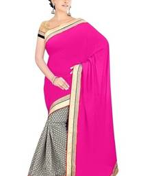 Buy Pink Pure Viscose & Satin Chiffon Awesome Embroidered Sarees With Unstitched Blouse viscose-saree online
