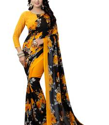 Buy Yellow printed georgette saree with blouse georgette-saree online