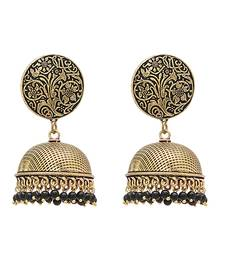 Buy Black Color Beads Traditional Oxidised Earrings Jewellry wedding-season-sale online