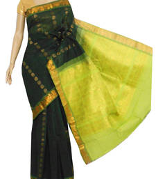 Buy Dark bottle green and lime green zari work south cotton saree without blouse cotton-saree online