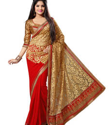 Buy Red and Beige Color Faux Georgette and Net Brasso Saree with Blouse party-wear-saree online