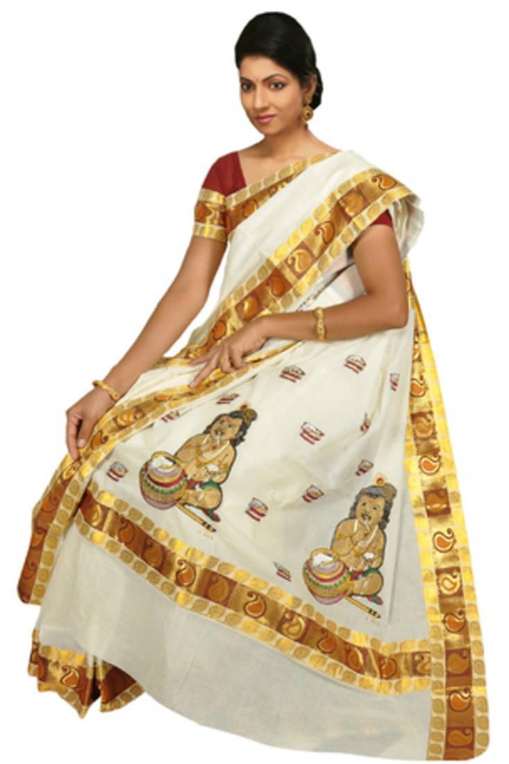 Buy Custom Made Saree Broacade Lace With Krishna