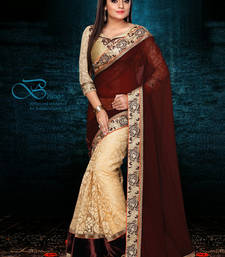 Buy Coffee n Cream Fancy designer Brasso Saree half-saree online