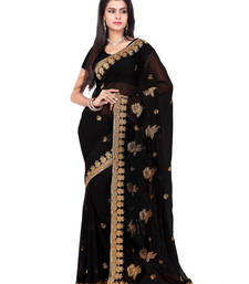 Buy Black Color Faux Georgette Saree With Blouse party-wear-saree online
