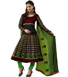 Black & Green Color Designer Embroidered Cotton Semi-Stitched Anarkali shop online