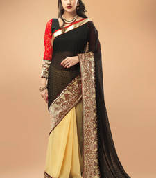 Buy Cream and Beige Georgette Chiffon Saree with Black and Red Blouse Piece georgette-saree online
