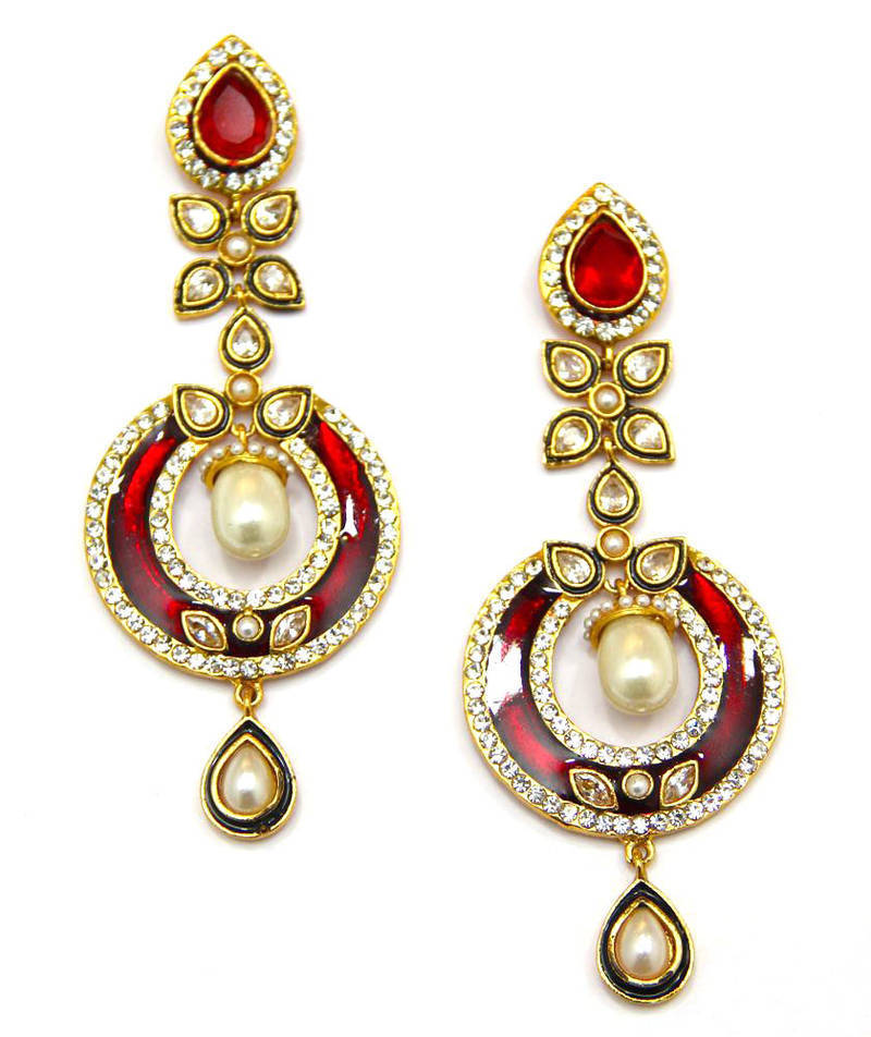 Red traditional earrings