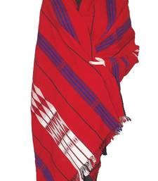 Hand-Woven Shawl from Nagaland-Red, white, Black and Blue weaving shop online