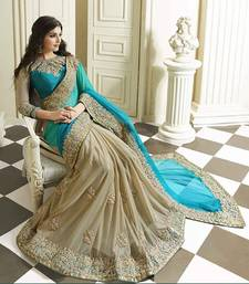 Buy Blue plain georgette saree with blouse georgette-saree online