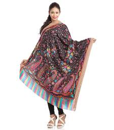Buy Floral & Paisley Printed Black Woolen Shawl With Rich Border shawl online