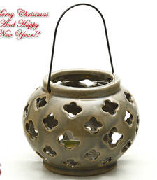 Buy Taupe Ceramic Tea light Lantern Shade with Floral Cut christmas-decoration online