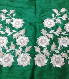 Buy Heavy hand-embroidered un-stitched green dupion silk material blouse bridal-blouse online