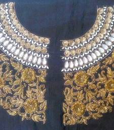 Buy Heavy handwork un-stitched maharani neck black dupion raw silk material blouse with antique dabka work bridal-blouse online