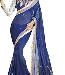 Buy Stylist Fancy Designer Blue , White & Gold  Saree wedding-saree online