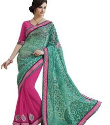 Buy FANCY DESIGNER PARTY WEAR HALF SUPER NET & HALF GEORGETTE SAREE wedding-saree online