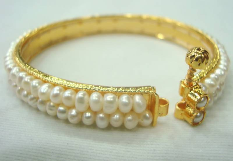 Buy Real Pearls 2 Line Bangles Set From Hyderabad Online