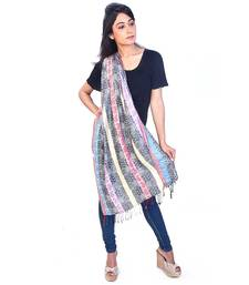 Buy Paisley Stripes Design Multicolor Fancy Silk Stole stole-and-dupatta online