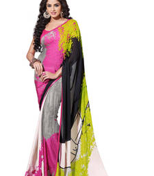 Buy Digital Printed Satin Georgette Designer Sarees Pink With Grey crepe-saree online