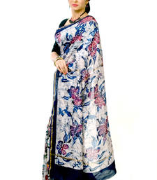 Buy Designer white blue handloom chanderi casual saree chanderi-saree online