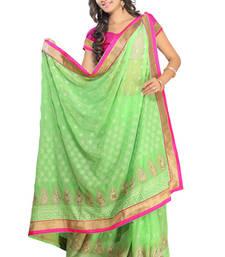 Buy Pista Green Color Tone To Tone Lakhnawi Thread Work