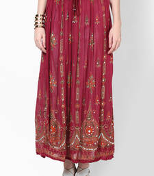Buy Maroon Embroidered Cotton Long Skirt navratri-skirt online