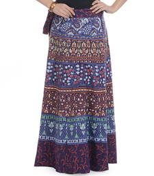Purple Cotton Printed Wrap Around Long Skirt shop online